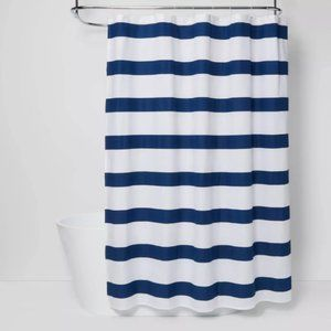 Rugby Stripe Shower Curtain White/Blue